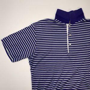 PETER MILLAR Medium Purple White Striped Polo